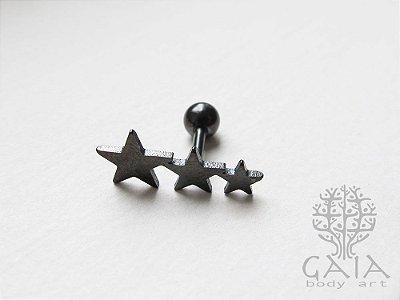 Barbell Trio de Estrelas Preto