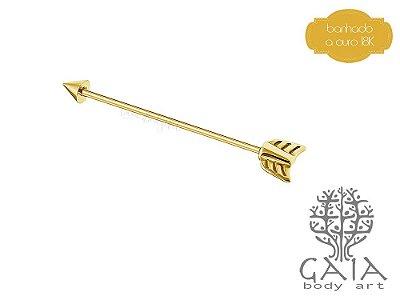 Barbell Transversal Industrial Dourado Flecha
