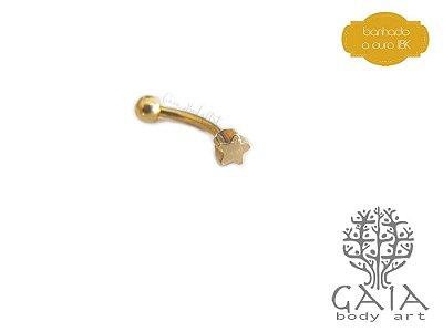 Micro Barbell Curvo Estrela Dourada