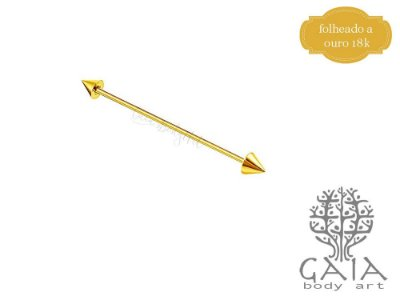 Barbell Transversal Dourado Spikes
