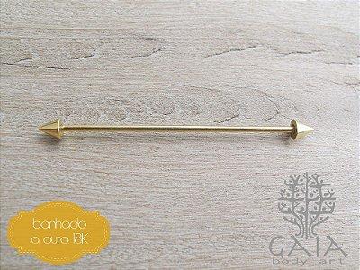 Barbell Transversal Aço Banhado a Ouro Dourado Spikes
