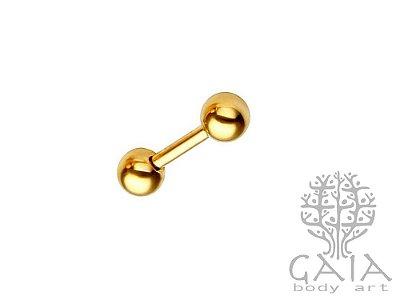Micro Barbell Reto Esferas Dourado