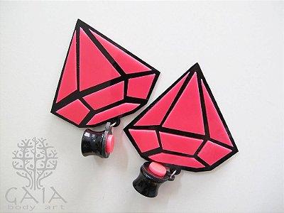 Alargador Acrílico Maxi Diamante Pink
