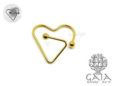 Piercing Mamilo Stylized Heart Dourado