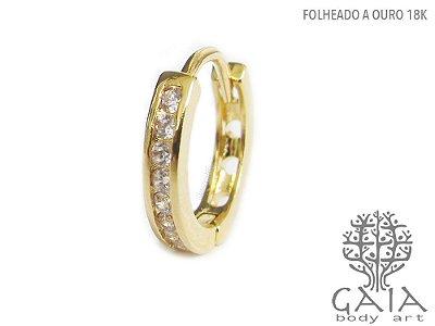 Argola Conch Dourada Zircônias Diana