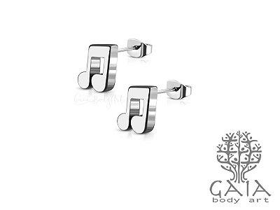 Brinco Aço Cirúrgico Nota Musical [o par]