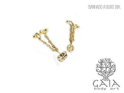 Micro Barbell Dourado Corrente & Pingente