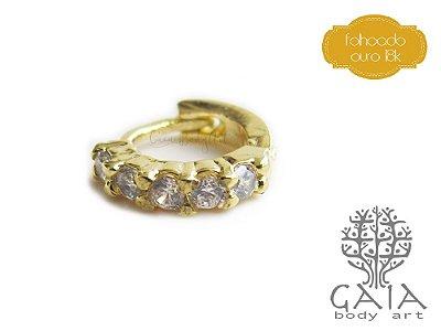 Argola Dourada Zircônias Jasmine