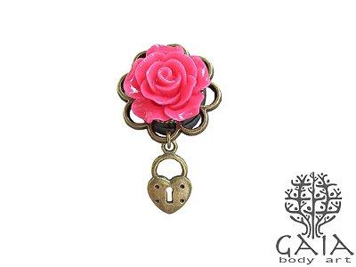Alargador Rosa Pink Cadeado Coração