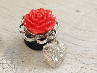 Alargador Rosa Vermelha + Coração Prata