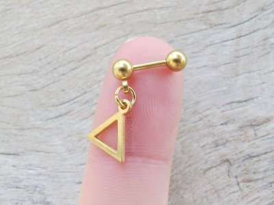 Barbell Aço Dourado Triangle Dangle