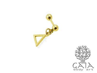 Barbell Aço Dourado Pingente Geometria