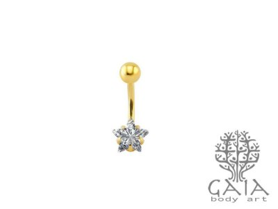 Piercing de Umbigo Dourado Zircônia Estrela