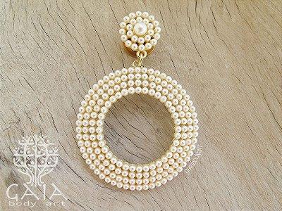 Alargador Aço Dourado Delicate Pearls