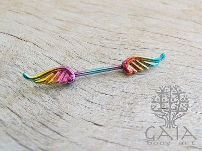 Piercing Mamilo Asas Rainbow