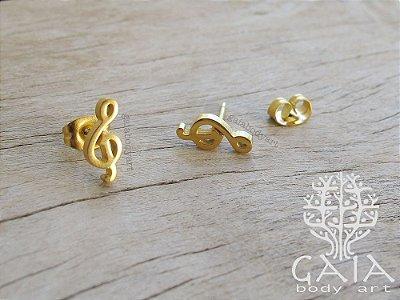 Brincos Dourados Símbolo Musical [o par]