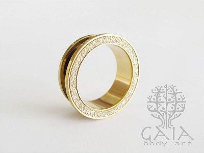 Alargador Aço Dourado Glitter Gold