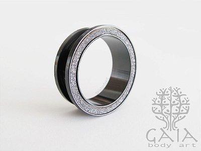 Alargador Aço Preto Glitter Prata