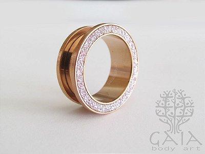 Alargador Aço Ouro Rosa Glitter Rosê