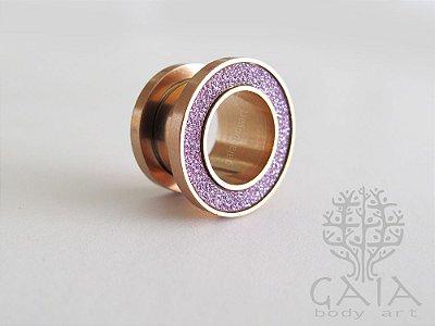 Alargador Aço Ouro Rosa Glitter Lilás