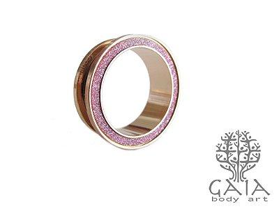 Alargador Ouro Rosa Glitter Pink