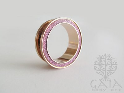 Alargador Aço Ouro Rosa Glitter Pink