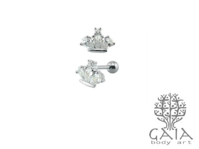 Micro Barbell Aço Cirúrgico Zircônias Crown