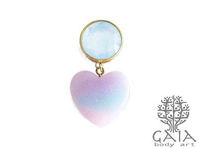 Alargador Dourado & Azul Sparkling Heart