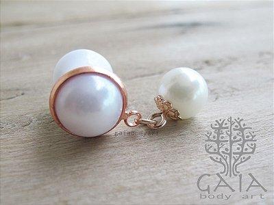 Alargador Branco & Ouro Rosa Perle