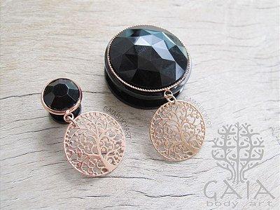 Alargador Anodizado Preto & Ouro Rosa Íris