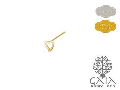 Nostril Prata 925 Banhado a Ouro Coração