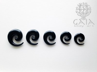 Alargador Espiral Caracol Preto
