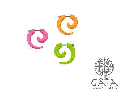 Falso Alargador Espiral Caracol Barbell Esfera Colorido