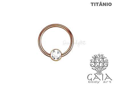 Captive Titânio Ouro Rosa Flat Zircônia