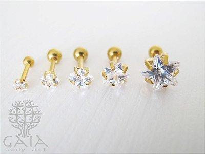 Barbell Aço Dourado Estrela Zircônia