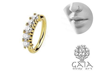 Argola Dourada Zircônias Goa