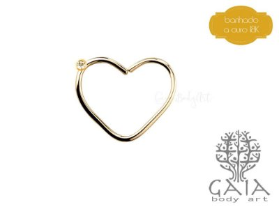 Clip Coração Dourado Strass