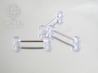 Barbell Aço Cirúrgico Esferas Acrílico Transparente