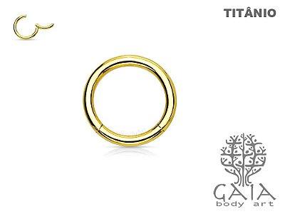 Argola Articulada Titânio Dourado