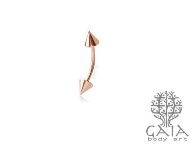 Micro Barbell Curvo Ouro Rosa Spikes