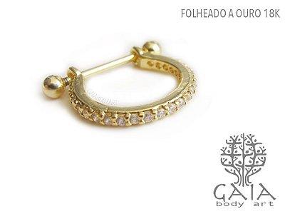Barbell Conch Dourado Cravejado Zircônias Maya
