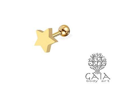Micro Barbell Dourado Estrela