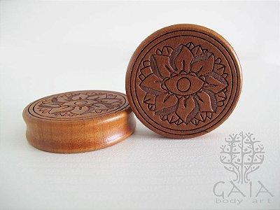 Alargador Madeira Flor de Lótus Bordas Planas