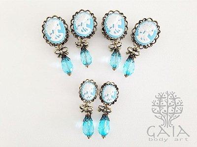 Alargador Camafeu Azul e Ouro Velho Caveira + Gota Azul