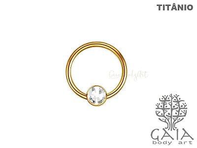 Captive Titânio Dourado Flat Zircônia