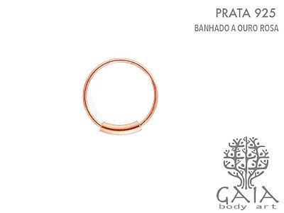 Argola Prata 925 Ouro Rosa Minimalist