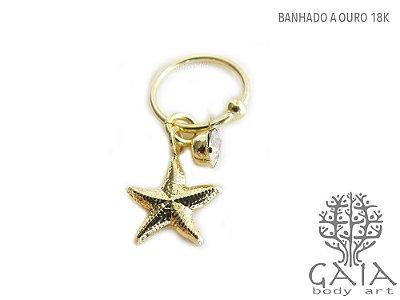 Argola Captive Dourado Estrela do Mar & Ponto de Luz