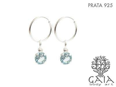 Brincos Argola Prata 925 Zircônia Azul [o par]