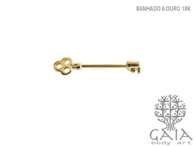 Barbell Mamilo Chave Dourada