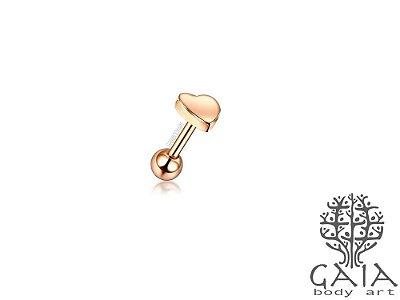 Micro Barbell Coração Ouro Rosa